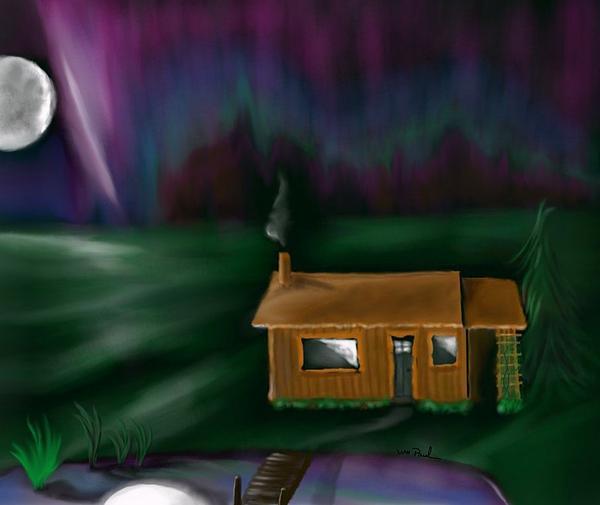 Fantasy Cabin Print by William  Paul Marlette