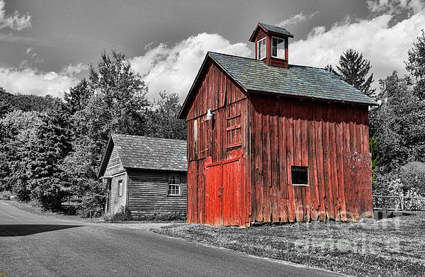 Farm - Barn - Weathered Red Barn Print by Paul Ward
