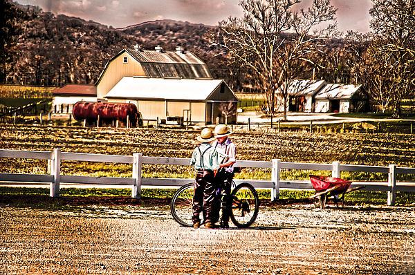 Farm Boys Country Exchange Print by Randall Branham