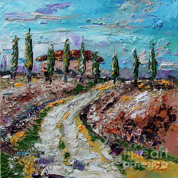 Farmhouse In Tuscay Italy Print by Ginette Callaway