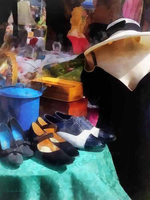 Fashion - Clothing For Sale At Flea Market Print by Susan Savad