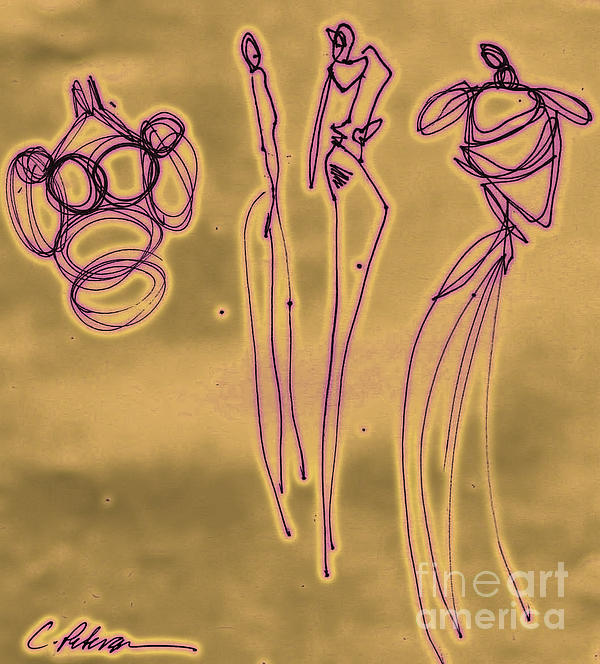 Fashion Graffiti In Purple Gold Print by Cathy Peterson