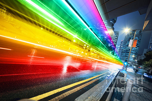 Fast Moving Bus At Night Print by Konstantin Sutyagin