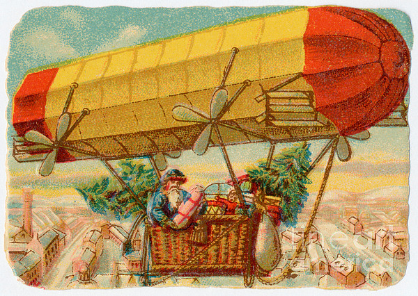 Father Christmas In Airship Print by Mary Evans