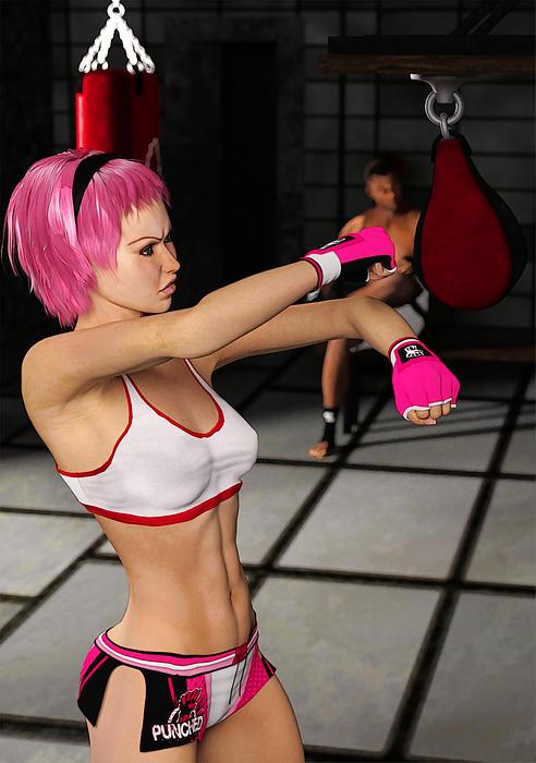 Female Boxer Workout Print by Liam Liberty