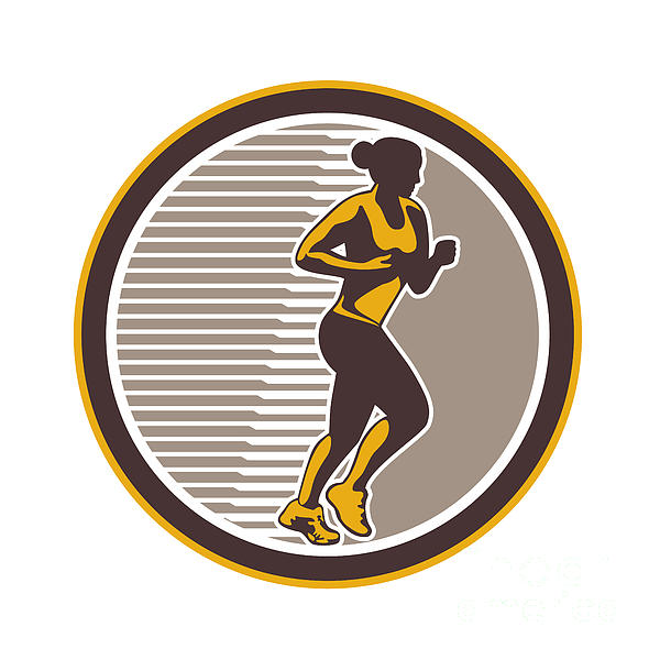 Female Marathon Runner Side View Retro Print by Aloysius Patrimonio