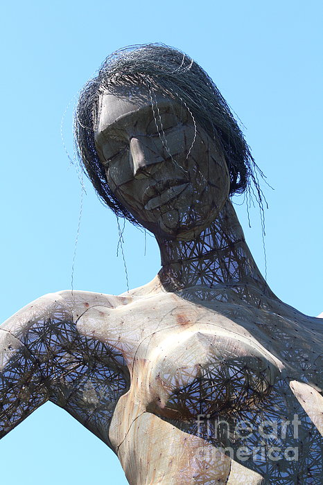 Female Sculpture On San Francisco Treasure Island 7d25444 Print by Wingsdomain Art and Photography