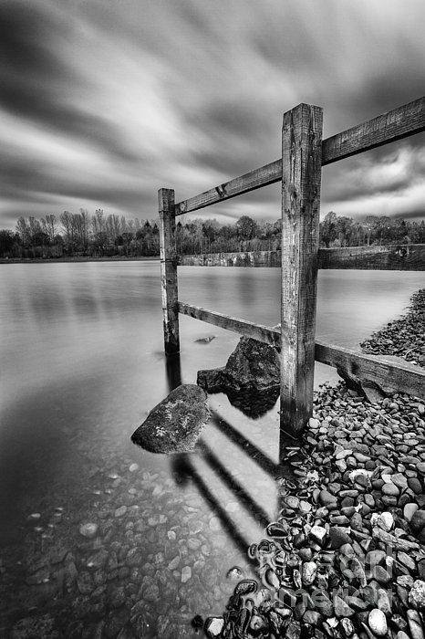 Fence In The Loch Print by John Farnan