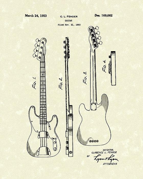 Fender Bass Guitar 1953 Patent Art Print by Prior Art Design