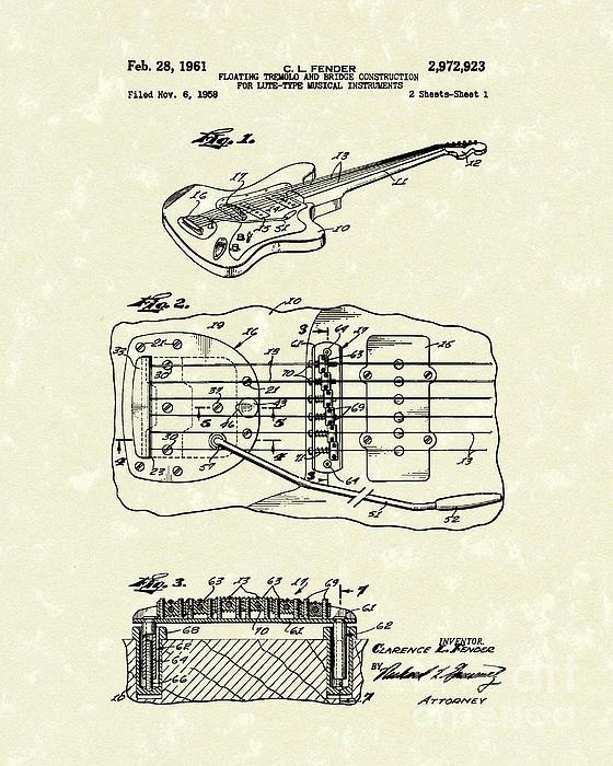 Fender Floating Tremolo 1961 Patent Art Print by Prior Art Design