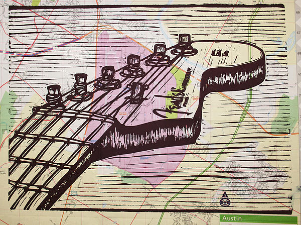 Fender Strat On Map Print by William Cauthern