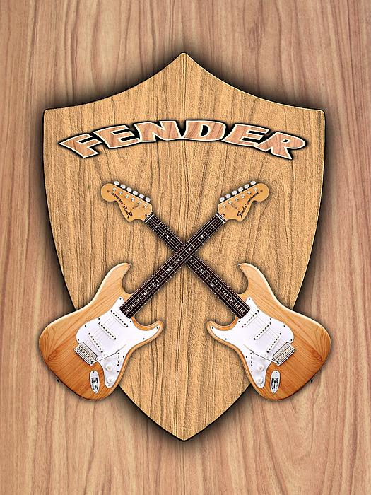 Fender Stratocaster Natural Color Shield Print by Doron Mafdoos