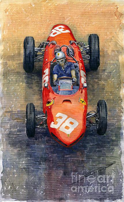 Ferrari Dino 156 1962 Monaco Gp Print by Yuriy Shevchuk