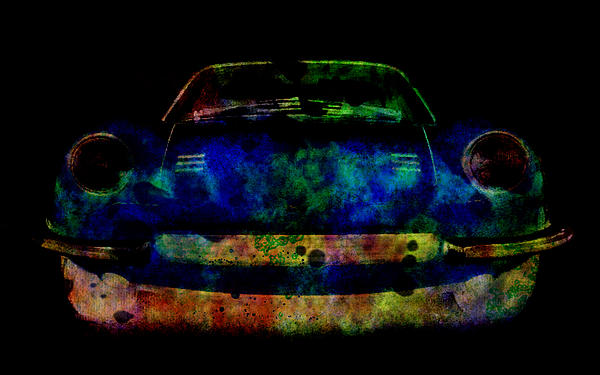 Ferrari Dino Colorful Abstract Painting On Black By Eti Reid
