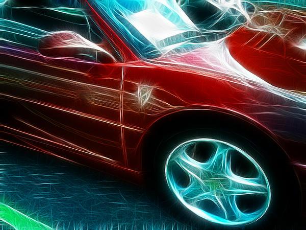 Ferrari In Red Print by Paul Ward
