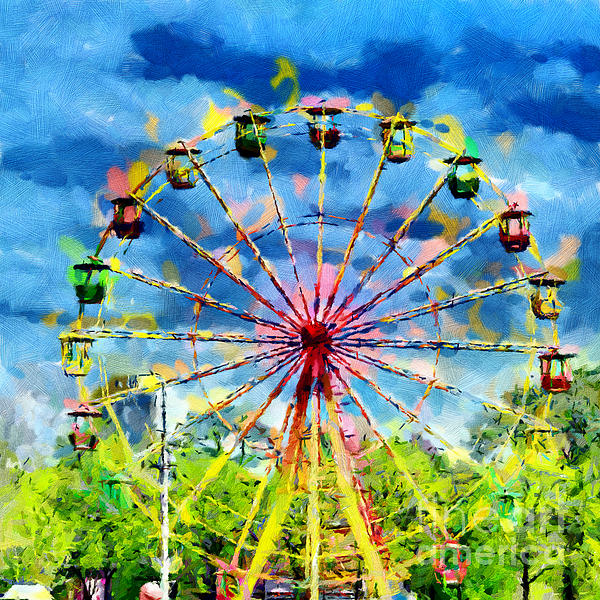 Ferris Wheel Painting Print by Magomed Magomedagaev