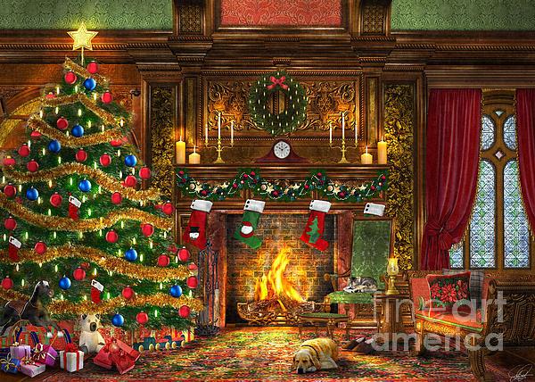 Festive Fireplace Print by Dominic Davison