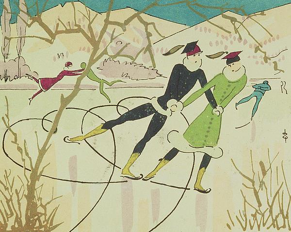 Figure Skating  Christmas Card Print by American School