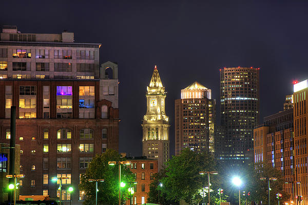Financial District At Night - Boston Print by Joann Vitali