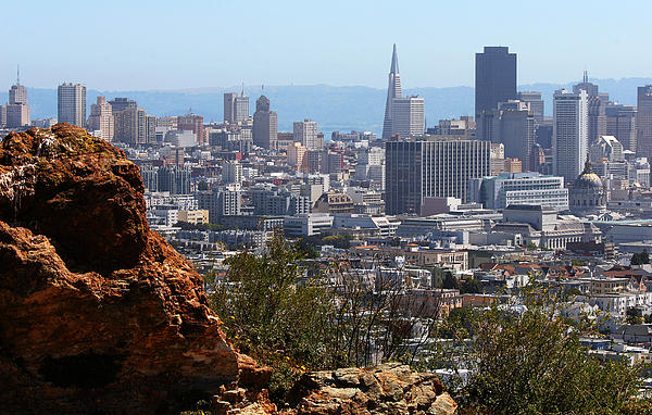 Financial District From Corona Heights Print by Robert Woodward