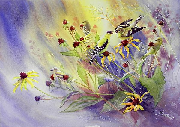 Finches To The Feast Print by Gail Vass