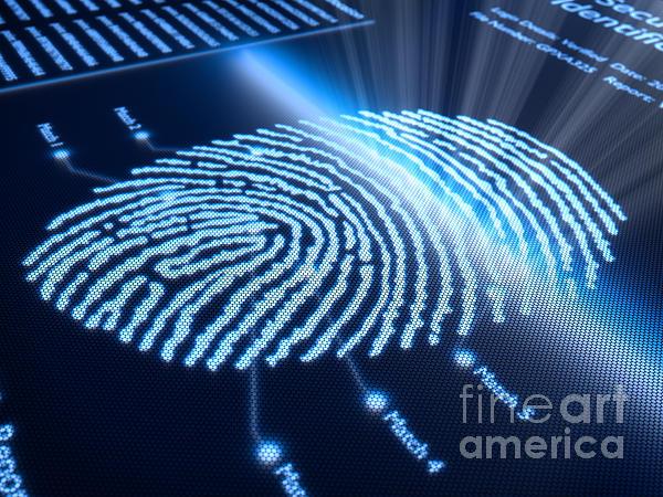 Fingerprint On Pixellated Screen Print by Johan Swanepoel