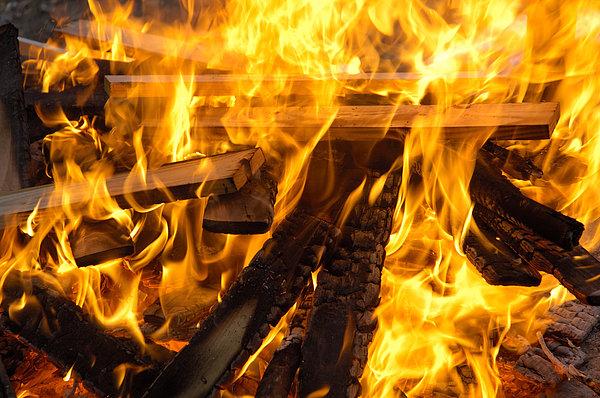 Fire - Burning Wood Print by Matthias Hauser