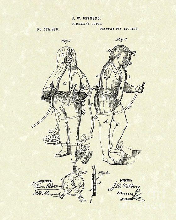 Fireman's Suits 1876 Patent Art Print by Prior Art Design
