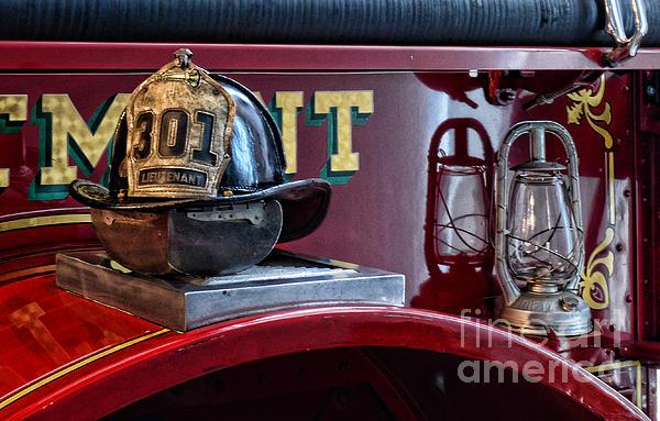 Firemen - Fire Helmet Lieutenant Print by Paul Ward