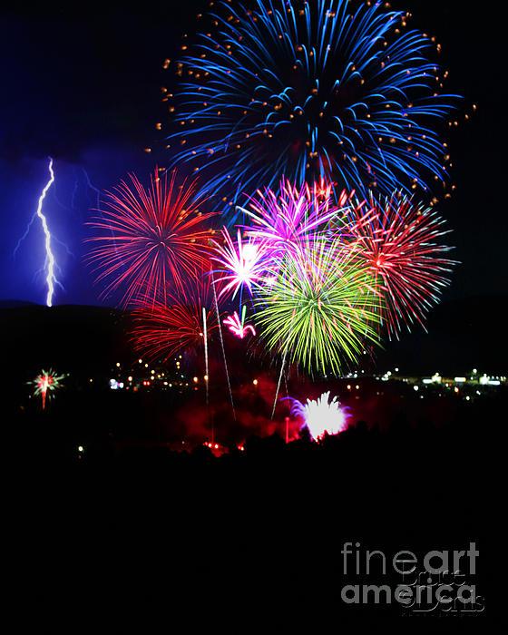 Fireworks And Lightning Print by Bruce Denis