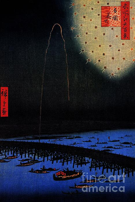 Fireworks At Ryogoku Print by Pg Reproductions