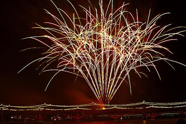 Fireworks At Tempe Town Lake Print by Saija  Lehtonen
