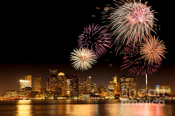Fireworks Over Boston Harbor Print by Susan Cole Kelly