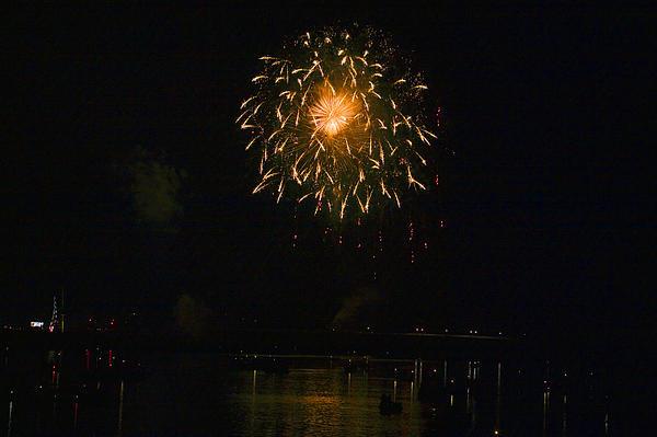 Fireworks Over Market Street Bridge Print by Gene Walls