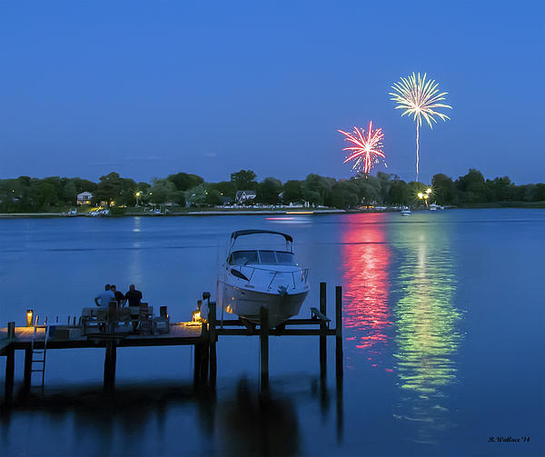 Fireworks Over Stony Creek Print by Brian Wallace