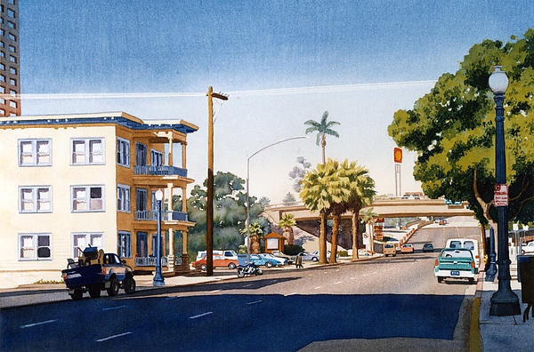 First Avenue In San Diego Print by Mary Helmreich