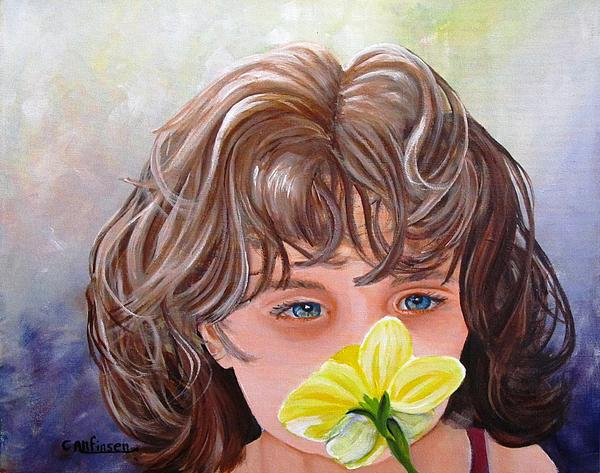 First Daffodil Print by Carol Allen Anfinsen