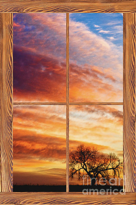 First Dawn Barn Wood Picture Window Frame View Print by James BO  Insogna