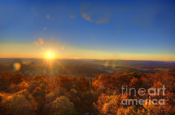 First Morning Light Striking Top Of Trees Print by Dan Friend