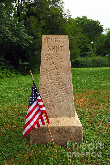 First Shot Monument Gettysburg Print by James Brunker