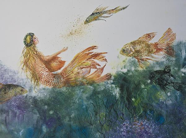 Fishbowl Mermaid Print by Nancy Gorr