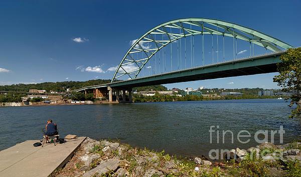 Fisherman At Birmingham Bridge Pittsburgh Pennsylvania Print by Amy Cicconi