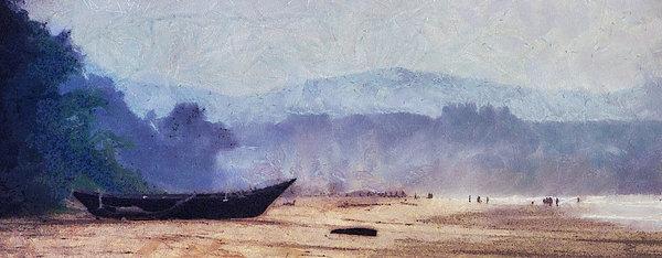 Fisherman Boat On The Goan Coast. India Print by Jenny Rainbow