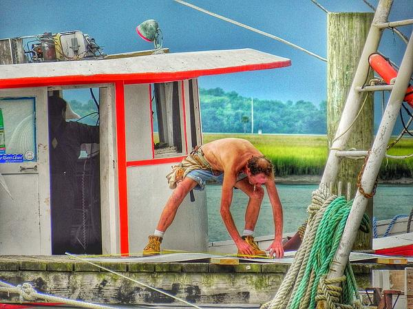 Patricia Greer - Fisherman Working on His Boat