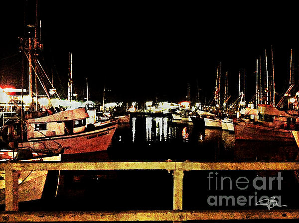 Fishermans Wharf At Night San Francisco California Print by Jani Bryson