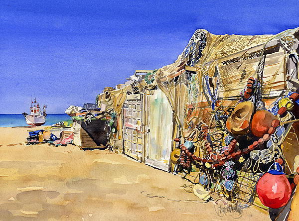 Fishermen's Huts At San Miguel Print by Margaret Merry