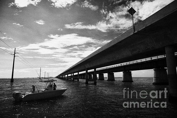 Fishing Boat Beneath New Seven Mile Bridge In Marathon In The Florida Keys Print by Joe Fox