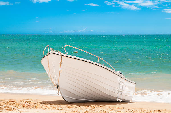 Fishing Boat On The Beach Algarve Portugal Print by Christopher and Amanda Elwell