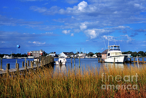 Fishing Boats At Dock Ocracoke Island Print by Thomas R Fletcher