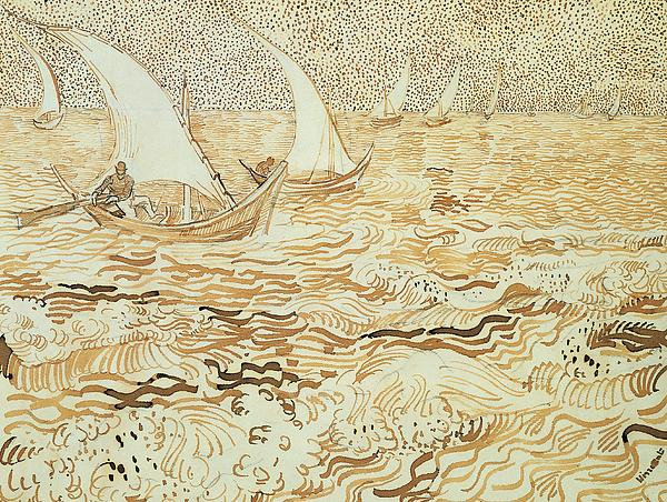 Fishing Boats At Saintes Maries De La Mer Print by Vincent van Gogh